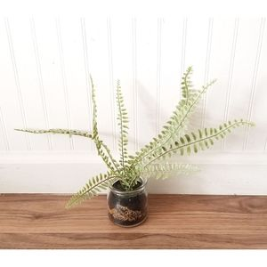 Artificial faux fern plant jar farmhouse decor